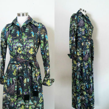 Asian Maxi Dress Boudoir Gown / Vintage 1960s 1970s Leslie Fay