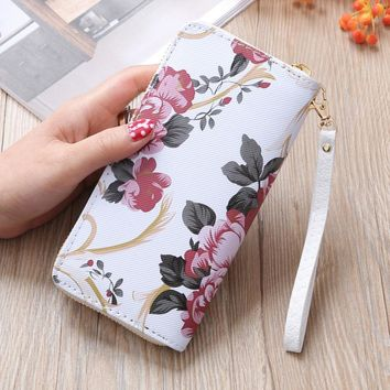 Wallet Female Floral Print Leather Zipper Long Wallets Flower Coin Phone Clutch Bag Girls Vintage Purse Monedero De Mujer #9228