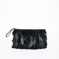 Missguided - Alyssia Feathered Clutch Black