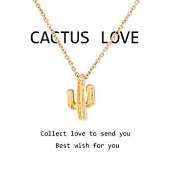 AUGUAU Zealmer Cactus Necklace Double Rings Snowflake Elk Dandelion Star Necklace Gift Card