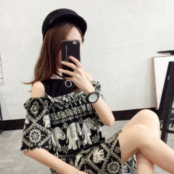 FASHION KOREAN VERSION OF THE FLORAL BROWN SHOULDER STRAP SKIRT