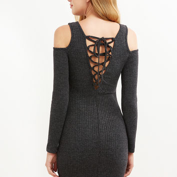 Grey Ribbed Knit Cold Shoulder Lace Up Bodycon Dress | MakeMeChic.COM