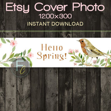 INSTANT DOWNLOAD, Etsy Shop Cover Photo 1200x300, Premade Hello Spring Design, Digital File, Spring Flowers and Bird Website Header