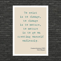 Philosophy art - Henri Bergson inspirational quote - educational poster typographic prints from Philosophy book