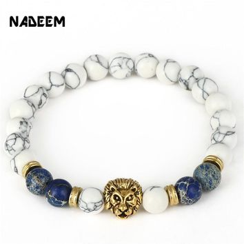 Drop Shipping 8mm Lab White Howlite Stone Bead Bracelet Antique Gold Color Lion Head Charm Yoga Bracelet High Grade Mens Jewelry