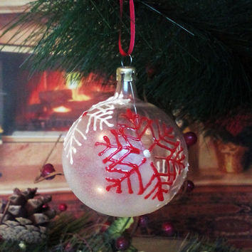 PERSONALIZED Hand painted glass ball Christmas tree ornament  White Red Winter Snowflakes