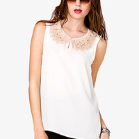 FOREVER 21 Scalloped Embroidered Collar Top Ivory/Champagne Small