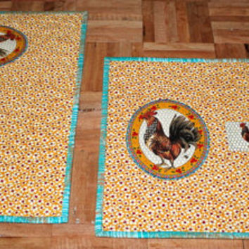 Quilted placemats - Yellow Floral Rooster placemats - Set of 2