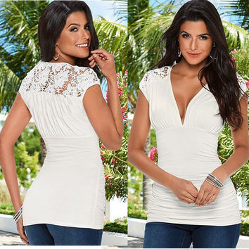 White Lace Panel V-Neck T-Shirt