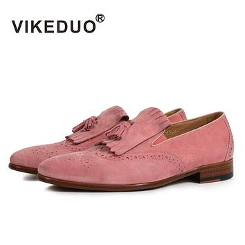 handmade Superstar Fashion luxury driving Dress Party casual pink Genuine Leather leisure flat Men's Loafer Shoes