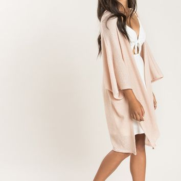 Jane Blush Asymmetrical Knit Cardigan