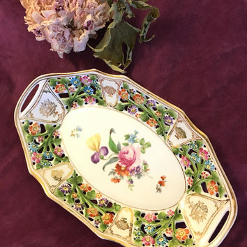 Dresden Floral Reticulated Bowl Antique Hand Painted Porcelain China Serving Oval Dish Pierced Bowl With Multicolored Flowers and Gold Trim