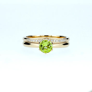 engagement ring set, peridot ring, engagement ring, wedding band, diamond ring, green, diamond engagement, unique, solitaire, yellow gold