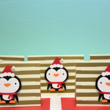 Christmas Card - Penguin Card - Penguin Christmas Card - Penguin Greeting Card