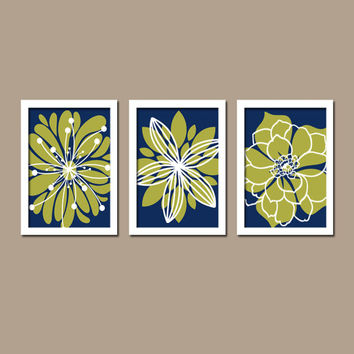 Navy Blue Olive Green White Flower Burst Outline Dahlia Floral B Master Bedroom Home Decor