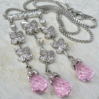 Vintage Sterling Silver 925 Pink Crystal Rhinestone Butterfly Tassel Necklace