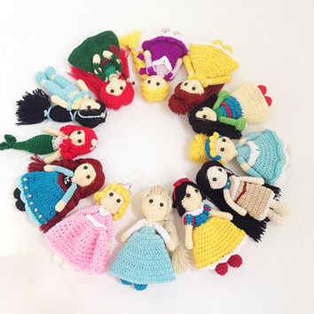 Princess collections Amigurumi, nursery decor, Princess amigurumi, Crochet princess, Baby gift, Girl gift, Gift, Birthday Gift