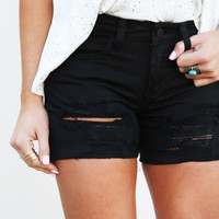 Midnight Distressed High Waisted Shorties
