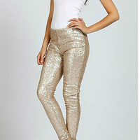 """Bae"" Gold Sequin Leggings"