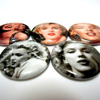 Set Of 5 Marilyn Monroe (Norma Jean) 1 Inch Pins