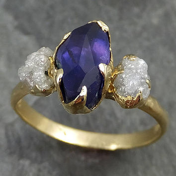 Partially Faceted Sapphire Raw Multi stone Rough Diamond 18k Gold Engagement Ring Wedding Custom One Of a Kind Violet Gemstone Three stone