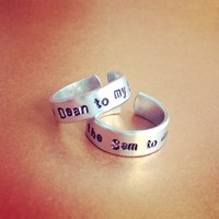 You're the Dean to my Sam & You're the Sam to my Dean Supernatural Inspired Ring Set Handmade SHIPS FROM USA from SHOW PONY