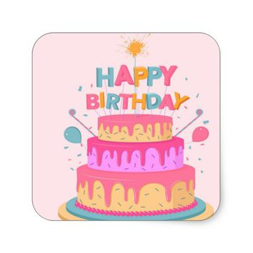 Happy Birthday Square Sticker