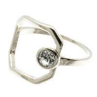 Open Circle Stone Ring
