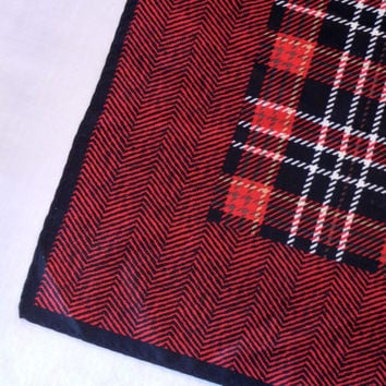 Red Plaid Silk Scarf with Herringbone Edge Print, Red Black White Tartan Center, Small Square Shape