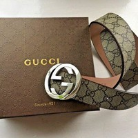 GPON Day First New Authentic Gucci Supreme GG Buckle Belt Size 90cm 30-32 Waist
