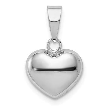 14k White Gold Puffed Heart Pendant, 10mm (3/8 Inch)