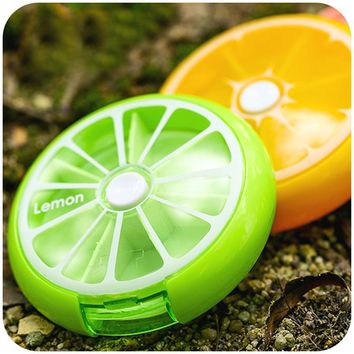 2017 New Weekly Rotating Pillbox Travel Pill Case Pill Organizer portable Medicine Box Drugs Pill Container Fruit color
