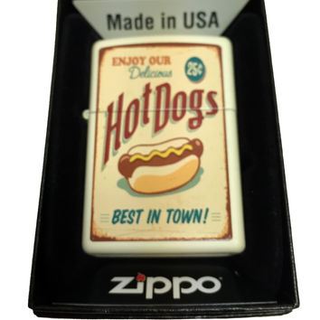 Zippo Custom Lighter - 1950's Vintage Hot Dog Poster - Regular Cream Matte 216CI012173