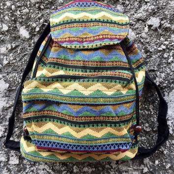 Festival Backpack Tribal Boho southwestern Green Hill tribe Styles Hmong Woven fabric Ethnic ikat design Overnight travel bag Hippies folk