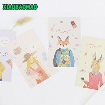 30 pcs / pack Creative Life of Animal Goat Dog Cat Cartoon Animals Greeting Card Postcard Birthday Gift Card Set Message Card