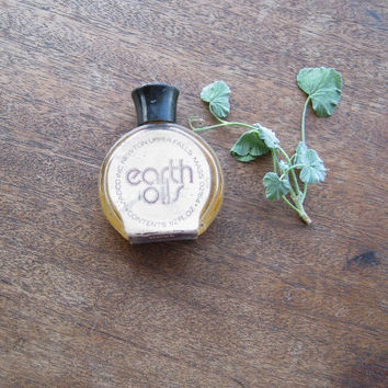 Small Vintage Bottle; Rose Hippie Body Oil + New Age Gajee Herbal Oil - Madco/Earth Oils Vintage Bohemian/Natural Woman Scent - Vtg Rose Oil