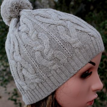 100% Alpaca Pom-Pom Cabled Beanie Hat - Medium Silver