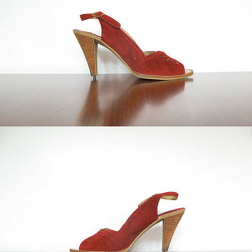 oxblood suede sandals - 70s vintage peep toe leather high heels - slingback wood heel pumps - size 8 1/2 shoes