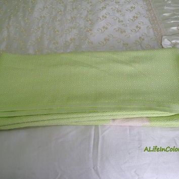 Turkish pistachio green diamond patterned soft natural cotton double bed cover, summer blanket, bedspread, camping blanket, throw blanket.