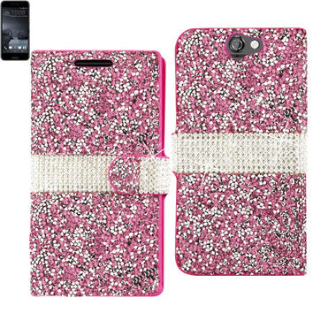 BLING Diamond Flip Case HTC One A9 PINK