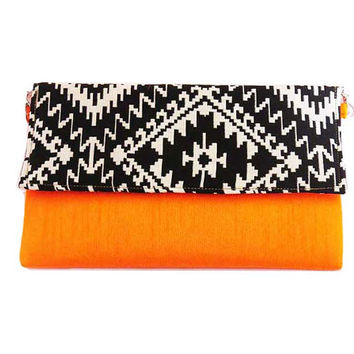 NEON ORANGE envelope CLUTCH bag/ black clutch bag Aztec Tribal print handbag modern trendy summer crossbody bag, navajo bag, India