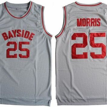 DKF4S Cheap Basketball Jersey Sleeveless Throwback Zack Morris #25 Bayside Tigers Saved By The Bell Gray S-3XL