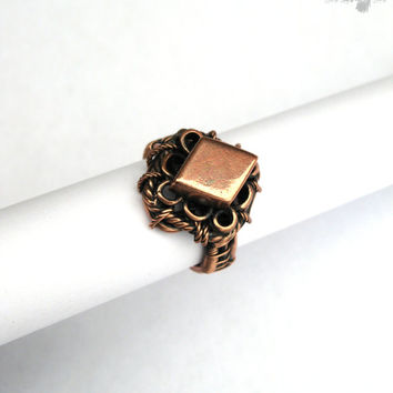 Wire copper ring Wire wrapped ring Copper wire ring Handmade jewelry set Gift woman gift girl Copper wire jewelry Beautifully jewelry