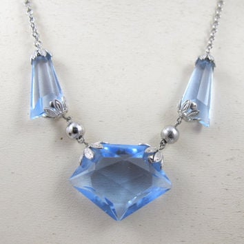 Art Deco Necklace Czech Faceted Blue Crystal Glass Necklace, 1920s Art Deco Jewelry, Wedding Bridal Necklace