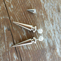 Silver spike & Rhinestone double sided earrings.
