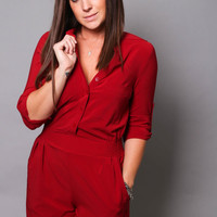 Crimson Pocket Romper