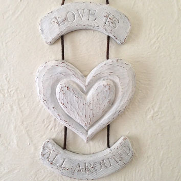 shabby chic wall hanging sign, Love, white