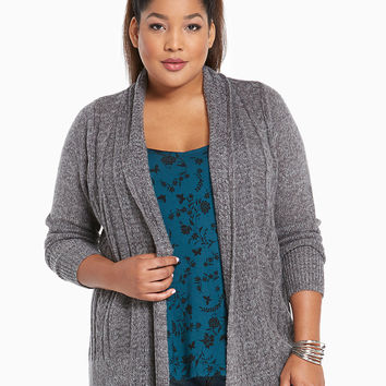 Marled Cable Knit Open Cardigan