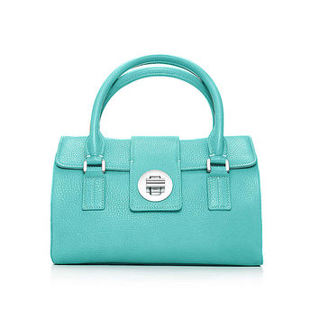 Tiffany & Co. - Manhattan satchel in Tiffany Blue® grain leather, small. More colors available.