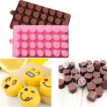 Funny Emoji Face DIY Silicone For Cake Chocolate Sugar Candy Soap Baking Mould emoticon small cup mold even baking random color
